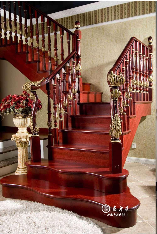 老木匠整木楼梯定制 楼梯效果图