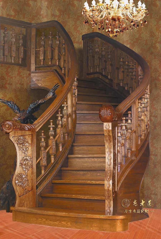 实木楼梯装修效果图 -漳州老木匠