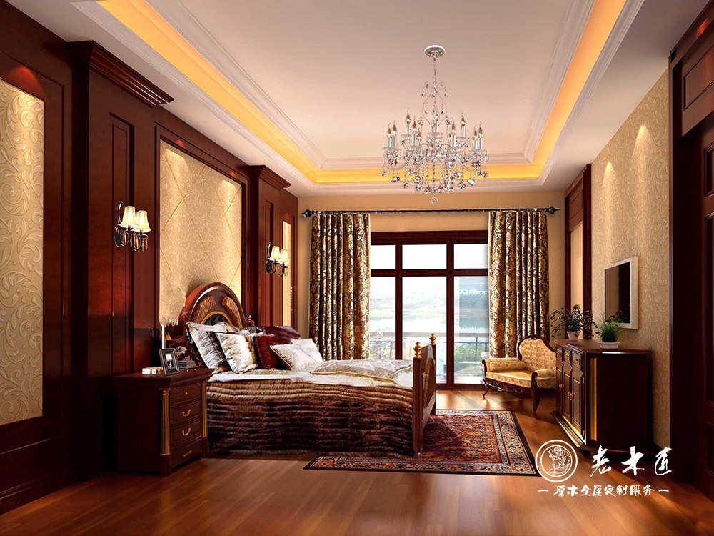 家具领导品牌,提供欧式卧室床头背景墙效果图,卧室背景墙采用原木制造