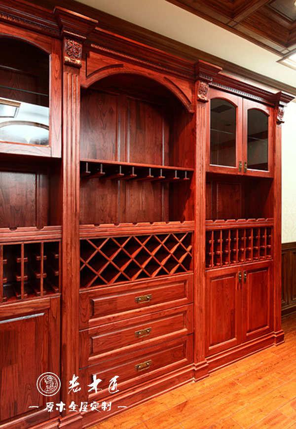 室内酒柜订制尺寸 美式实木酒柜图片
